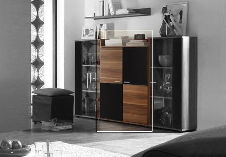 Highboard II TOP FIVE Kommode in Nussbaum und schwarz