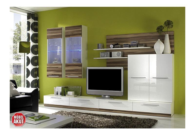 wohnwand manta wei hochglanz baltimore led. Black Bedroom Furniture Sets. Home Design Ideas
