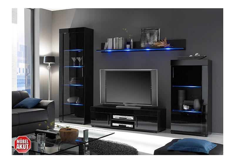 wohnwand drey anbauwand wohnzimmer schwarz hochglanz inkl led neu ebay. Black Bedroom Furniture Sets. Home Design Ideas