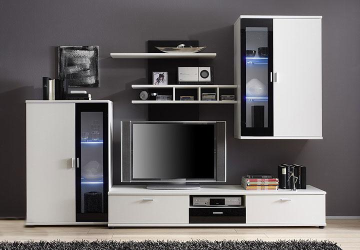wohnwand yomi wei schwarz hochglanz inkl led. Black Bedroom Furniture Sets. Home Design Ideas