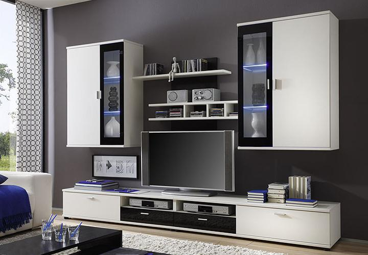 yomi wohnwand wei schwarz hochglanz inkl led. Black Bedroom Furniture Sets. Home Design Ideas