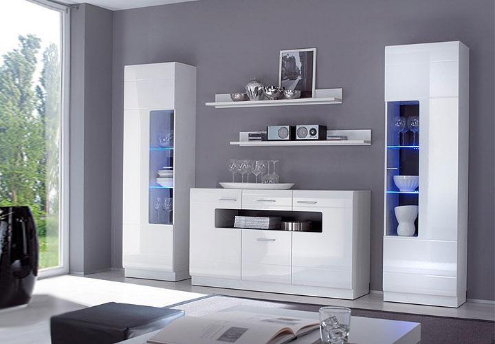 wohnkombi cabana esszimmer wohnwand in wei hochglanz. Black Bedroom Furniture Sets. Home Design Ideas