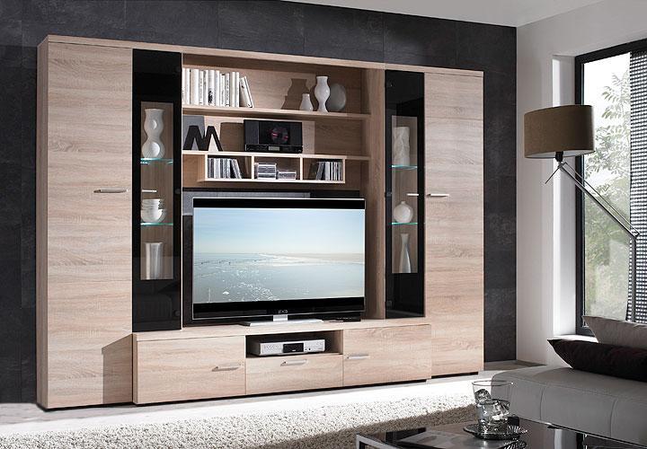 wohnzimmermöbel eiche:SAVIO Wohnwand Sonoma Eiche Sägerau/Schwarz Hochglanz – inkl. LED