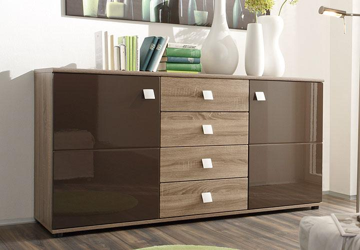natura sideboard braun hochglanz eiche sonoma design. Black Bedroom Furniture Sets. Home Design Ideas