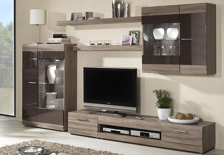 wohnwand carero 1 sonoma eiche dunkel und braun hochglanz. Black Bedroom Furniture Sets. Home Design Ideas