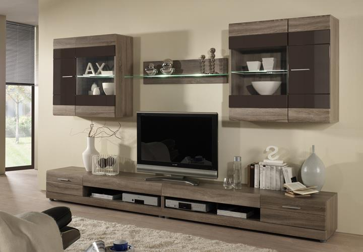 wohnwand carero 4 sonoma eiche dunkel und braun hochglanz. Black Bedroom Furniture Sets. Home Design Ideas