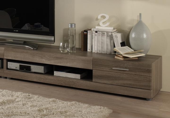 wohnwand carero 4 sonoma eiche dunkel und braun hochglanz. Black Bedroom Furniture Sets. Home Design Ideas