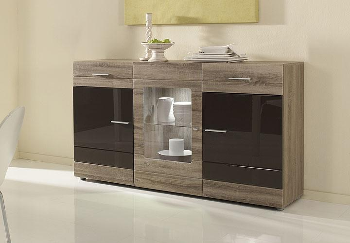 sideboard carero braun mdf hochglanz sonoma eiche dunkel. Black Bedroom Furniture Sets. Home Design Ideas