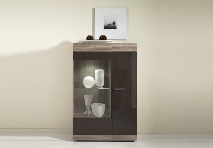 vitrine r carero braun mdf hochglanz eiche sonoma dunkel. Black Bedroom Furniture Sets. Home Design Ideas