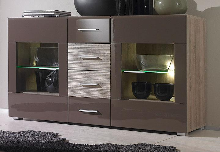 sideboard forino kommode braun hochglanz sonoma eiche dunkel neu ebay. Black Bedroom Furniture Sets. Home Design Ideas