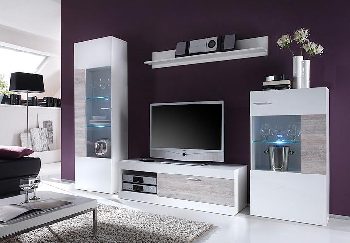 wohnwand top point anbauwand wohnzimmer in wei und sonoma eiche inkl led ebay. Black Bedroom Furniture Sets. Home Design Ideas