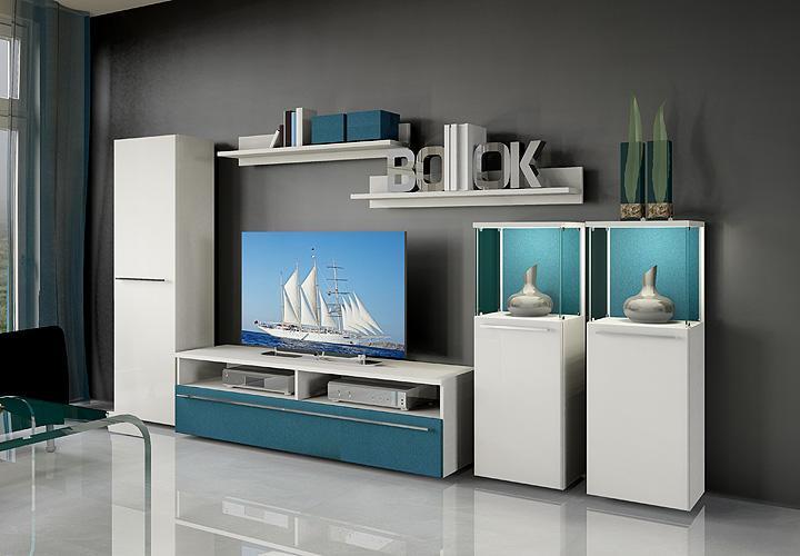 wohnwand 5 six pack wei petrol blau. Black Bedroom Furniture Sets. Home Design Ideas