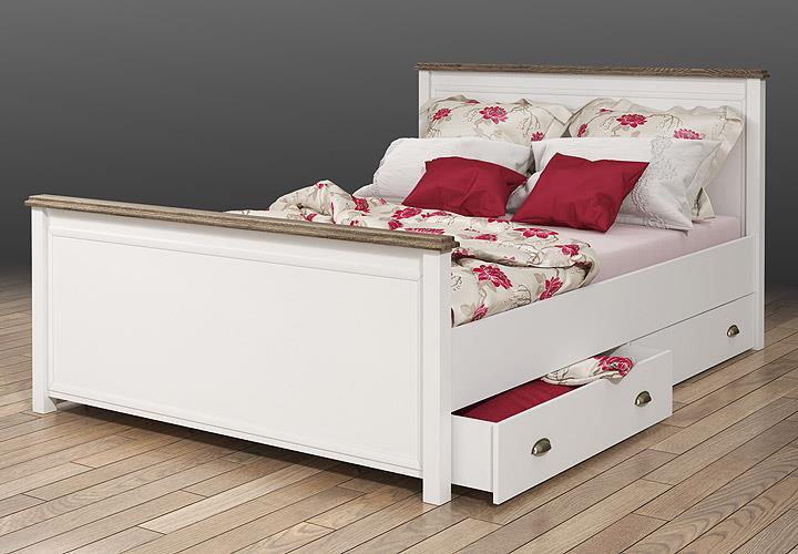 bett chateau in wei und san remo eiche 140x200. Black Bedroom Furniture Sets. Home Design Ideas