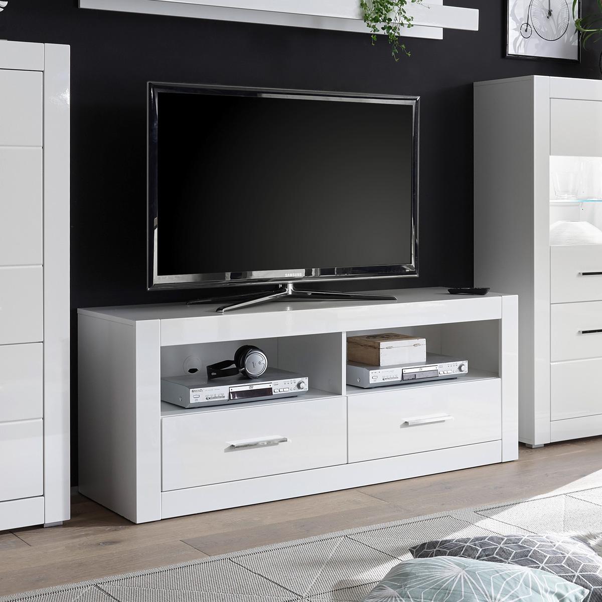 Fernsehschrank weiß  TV-Board Bianco Lowboard Unterschrank Fernsehschrank Kommode in weiß ...