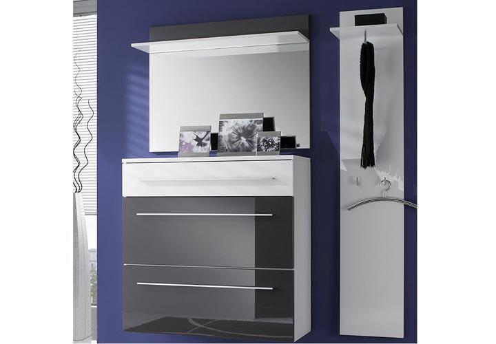 lyon garderobenpaneel i grau hochglanz wei. Black Bedroom Furniture Sets. Home Design Ideas