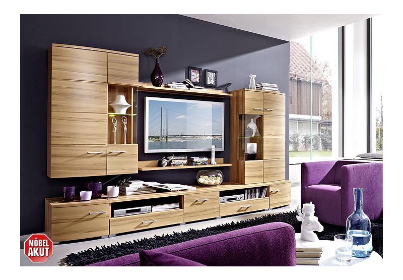 wohnwand loca anbauwand wohnzimmer hiddensee buche inkl led ebay. Black Bedroom Furniture Sets. Home Design Ideas