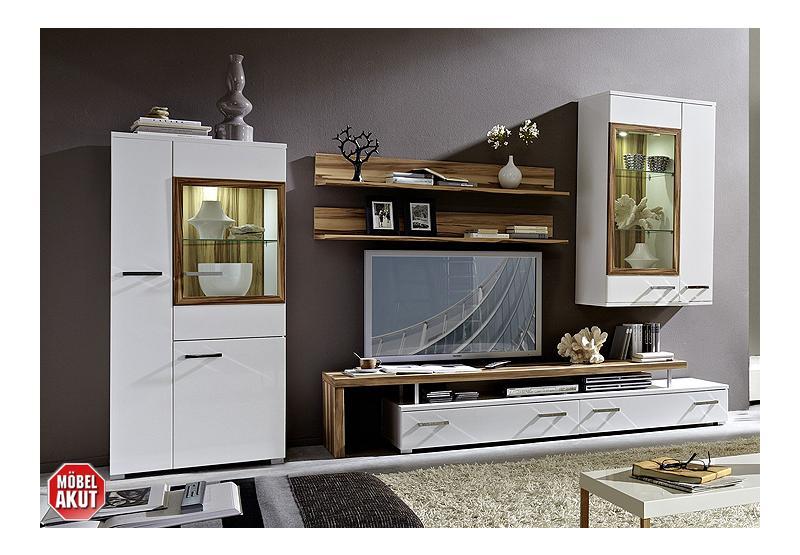 wohnwand carma anbauwand wei hochglanz baltimore walnuss inkl beleuchtung ebay. Black Bedroom Furniture Sets. Home Design Ideas