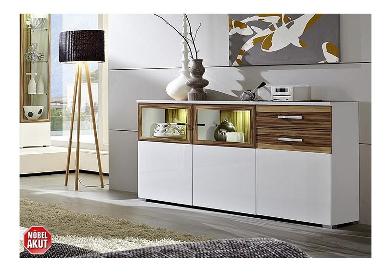 sideboard carma kommode wei hochglanz baltimore walnuss inkl beleuchtung ebay. Black Bedroom Furniture Sets. Home Design Ideas