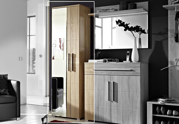 spiegelschrank point schrank garderobe in sonoma eiche hell. Black Bedroom Furniture Sets. Home Design Ideas