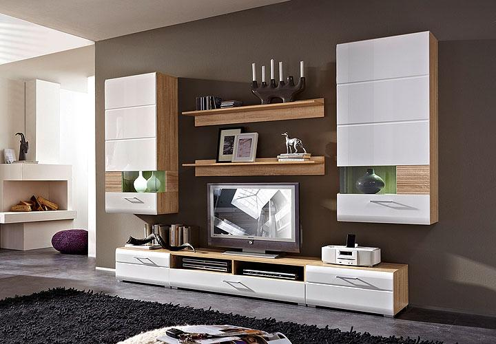 wohnwand nandez 1 wei hochglanz sonoma eiche s gerau hell. Black Bedroom Furniture Sets. Home Design Ideas