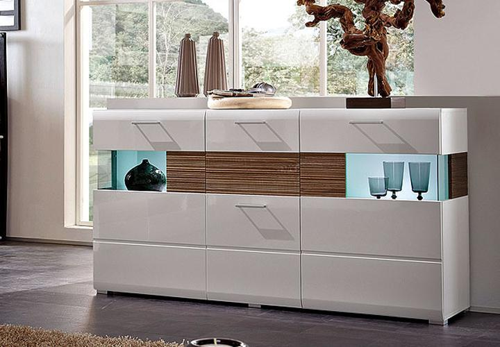 sideboard nandez wei hochglanz sonoma eiche s gerau dunkel. Black Bedroom Furniture Sets. Home Design Ideas