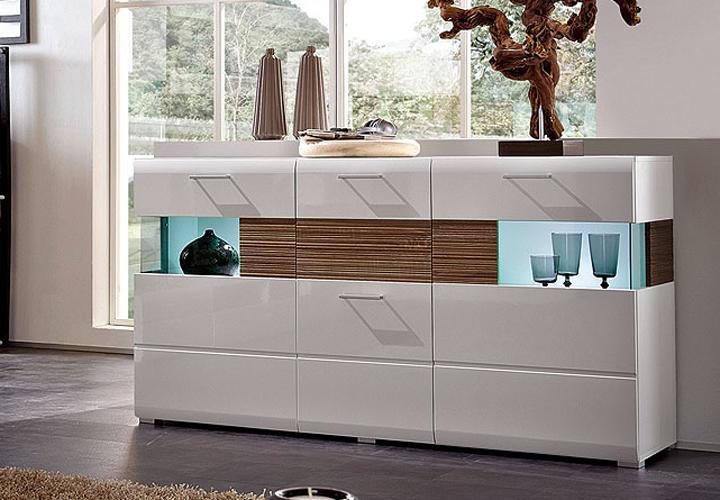 sideboard nandez wei hochglanz sonoma eiche s gerau dunkel. Black Bedroom Furniture Sets. Home Design Ideas