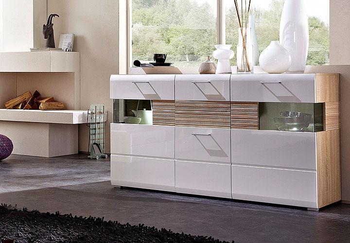 sideboard nandez wei hochglanz sonoma eiche s gerau hell. Black Bedroom Furniture Sets. Home Design Ideas