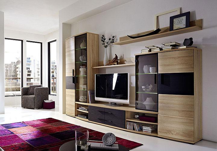 wohnwand basto anbauwand sonoma eiche s gerau und melinga schwarz inkl led ebay. Black Bedroom Furniture Sets. Home Design Ideas