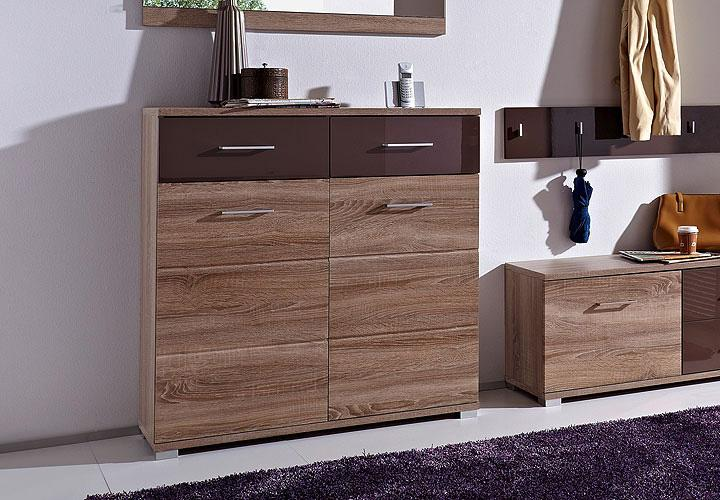 malo schuhschrank sonoma eiche s gerau schwarz braun hochglanz. Black Bedroom Furniture Sets. Home Design Ideas