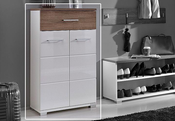 malo schuhschrank ii wei hochglanz sonoma eiche s gerau. Black Bedroom Furniture Sets. Home Design Ideas