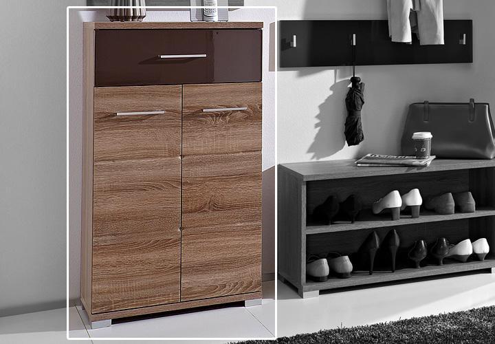 malo schuhschrank ii sonoma eiche s gerau schwarz braun hochglanz. Black Bedroom Furniture Sets. Home Design Ideas