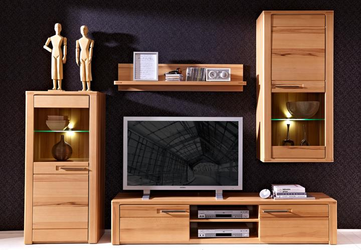 wohnwand 2 nature plus kernbuche massiv lackiert. Black Bedroom Furniture Sets. Home Design Ideas