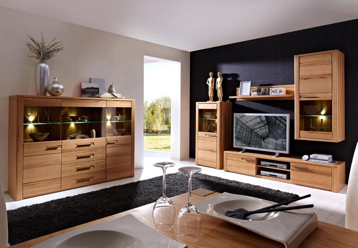 wohnwand 2 nature plus kernbuche massiv lackiert. Black Bedroom Furniture Sets. Home Design Ideas