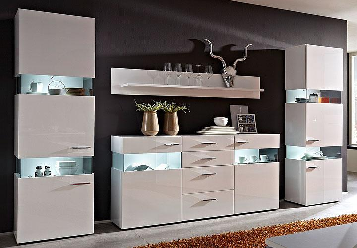 jersey ii vitrine wei hochglanz inkl led. Black Bedroom Furniture Sets. Home Design Ideas