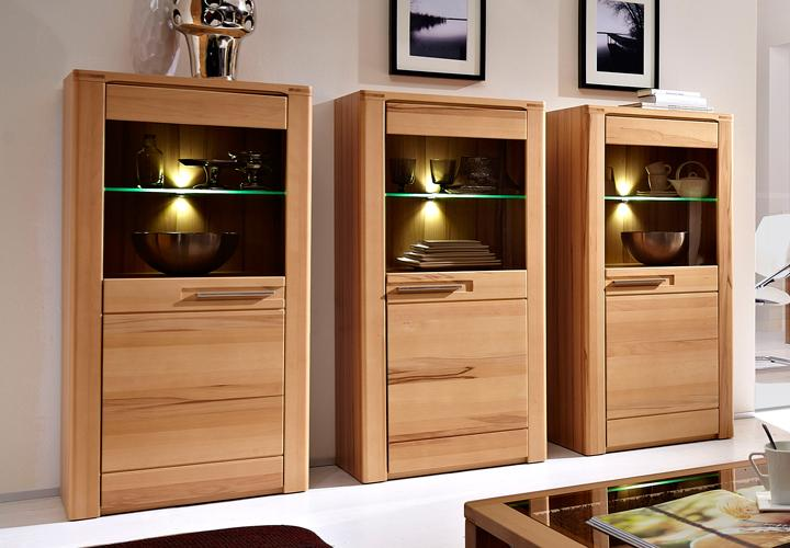 vitrine nature plus in kernbuche massiv lackiert 3er set. Black Bedroom Furniture Sets. Home Design Ideas