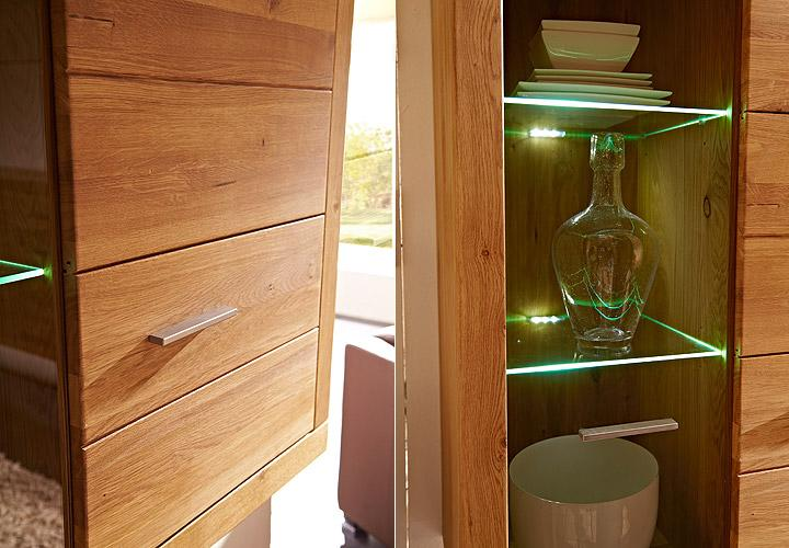 unser wildes wohnzimmer:Wohnwand PUR Anbauwand Wohnzimmer in Wildeiche massiv LED