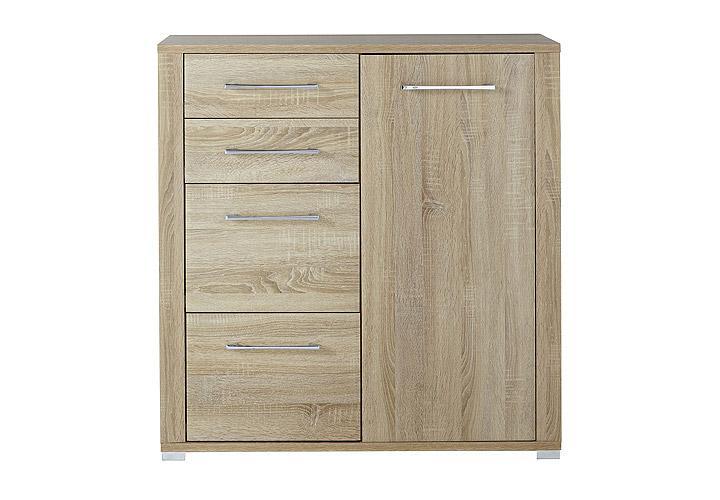 kommode go sonoma eiche s gerau hell chrom 103 cm. Black Bedroom Furniture Sets. Home Design Ideas