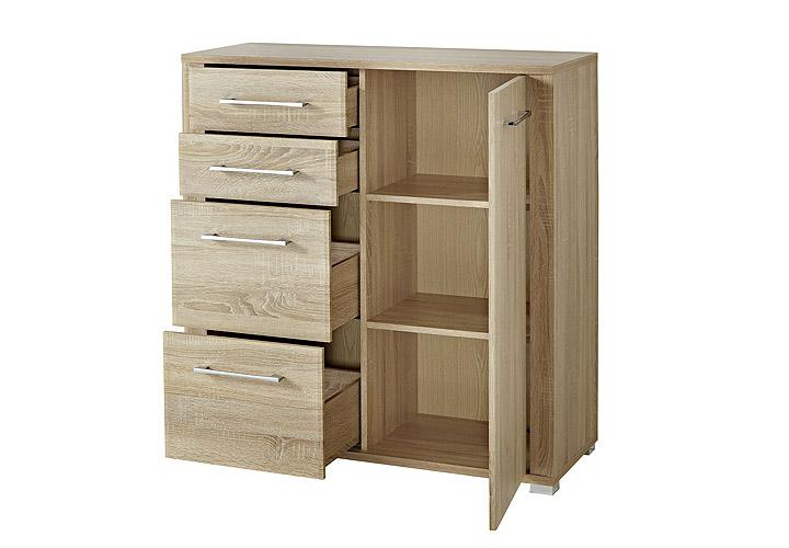 kommode go sonoma eiche s gerau hell chrom 103 cm. Black Bedroom Furniture Sets. Home Design Ideas