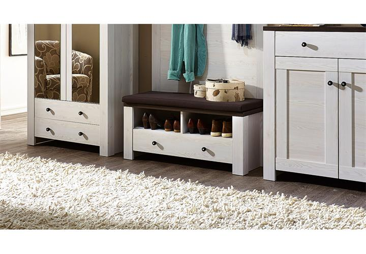 schuhbank garderobe antwerpen l rche weiss pinie dunkel. Black Bedroom Furniture Sets. Home Design Ideas