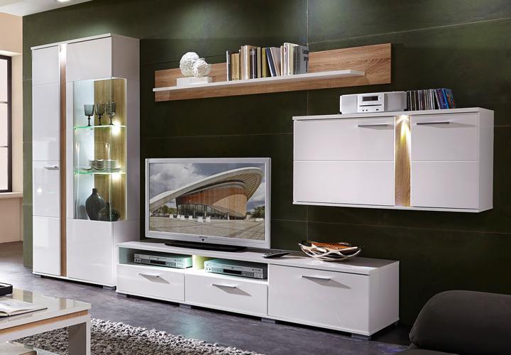 wohnwand spot 2 wei hochglanz sonoma eiche hell inkl led. Black Bedroom Furniture Sets. Home Design Ideas
