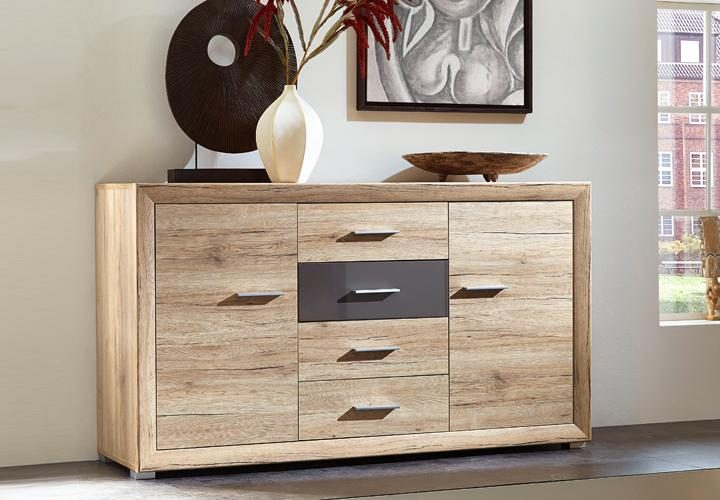 sideboard swing san remo eiche hell graphit. Black Bedroom Furniture Sets. Home Design Ideas