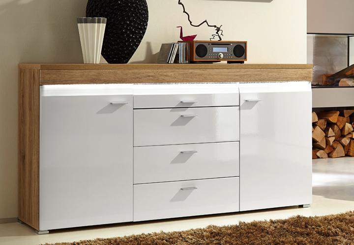 sideboard casa hochglanz wei und san remo eiche hell. Black Bedroom Furniture Sets. Home Design Ideas