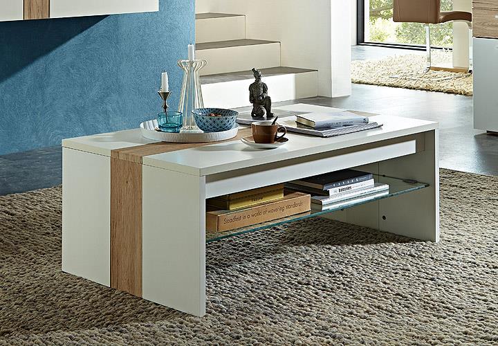 couchtisch easy in wei matt und san remo eiche hell 115. Black Bedroom Furniture Sets. Home Design Ideas