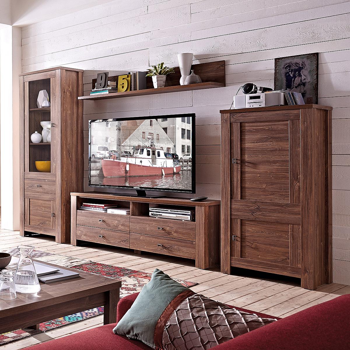 wohnwand 1 br ssel anbauwand wohnkombi wohnzimmer in akazie dunkel inkl led 4059236034903 ebay. Black Bedroom Furniture Sets. Home Design Ideas