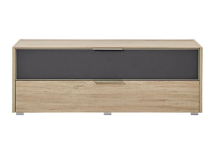 tv board median unterteil lowboard in eiche und grau stoff. Black Bedroom Furniture Sets. Home Design Ideas