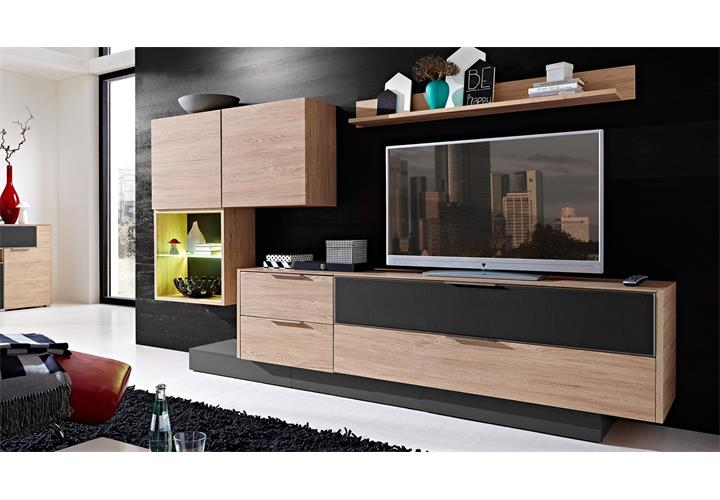 wohnwand 6 median anbauwand eiche und grau inkl led. Black Bedroom Furniture Sets. Home Design Ideas