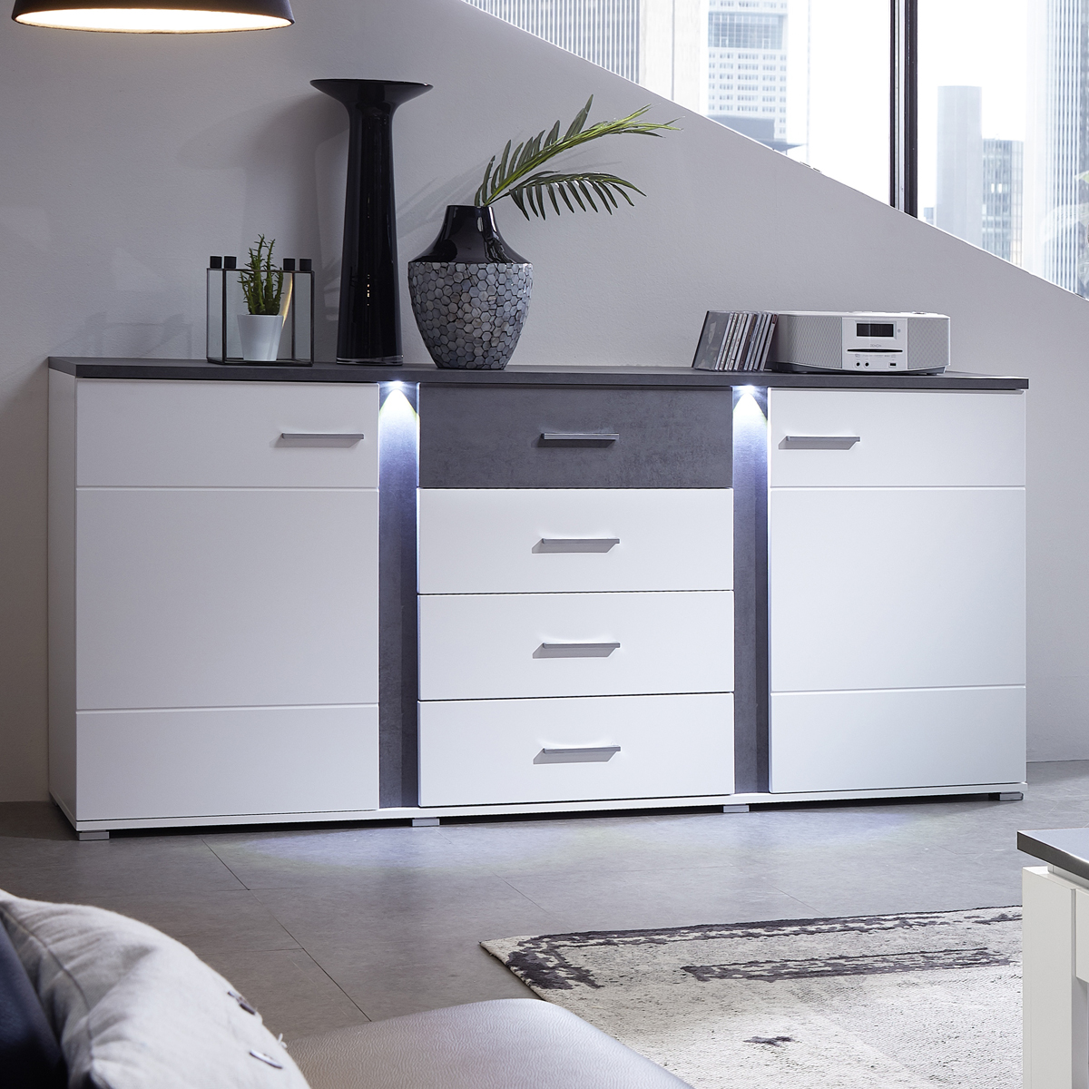 sideboard spurt mit led anrichte kommode wohnzimmer wei. Black Bedroom Furniture Sets. Home Design Ideas