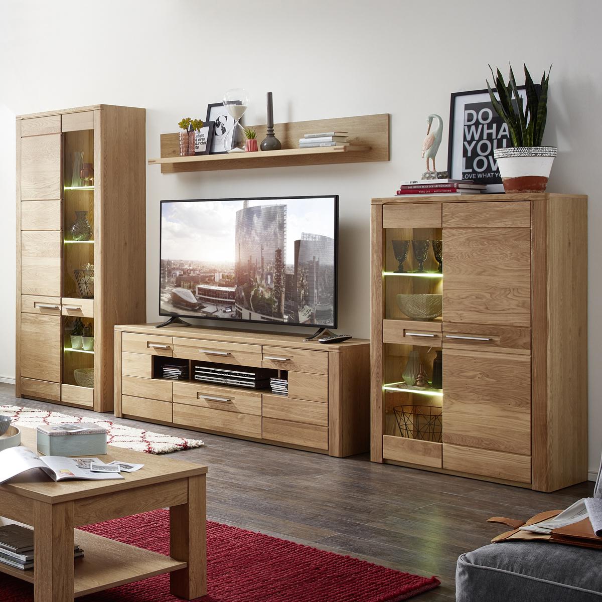 wohnwand nature two mit led anbauwand in wildeiche bianco teilmassiv ebay. Black Bedroom Furniture Sets. Home Design Ideas