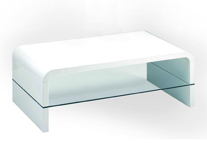 Couchtisch XENON MDF Weiß Hochglanz Glas ESG 110×60