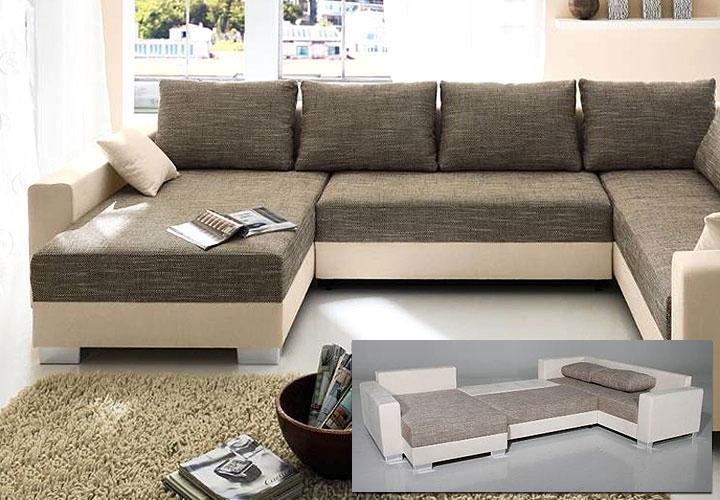 wohnlandschaft abby braun beige mit ottomane bettkasten. Black Bedroom Furniture Sets. Home Design Ideas